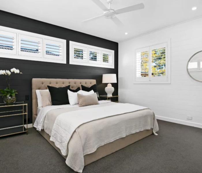 shiplap-bedroom-black-head-board-accent-wall