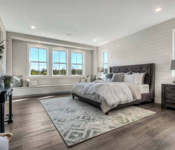 shiplap-bedroom-white-accent-wall-windows