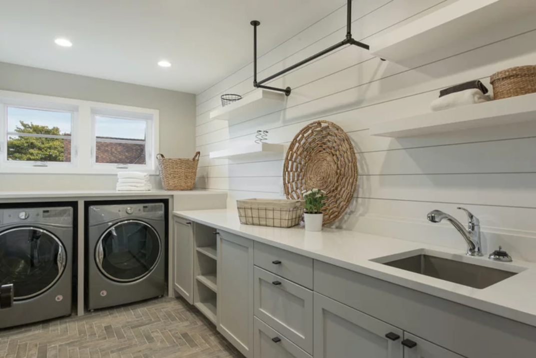 shiplap-laundry-room-white-accent-wall-gray-cabinets