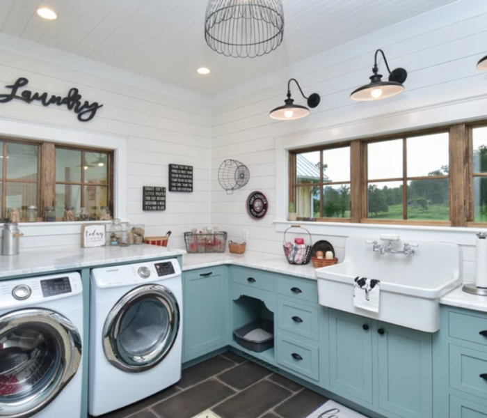shiplap-laundry-room-white-wall-blue-cabinets