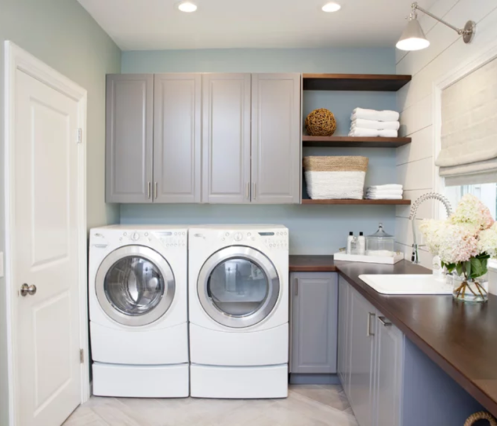 shiplap-laundry-white-accent-wall-gray-cabinets